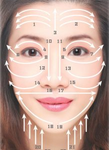 Applying Gua Sha on your face.